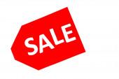 horní pohled na červenou cenovku s nápisem na prodej izolované na bílém