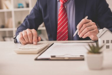 selective focus of broker using calculator and holding pen near clipboard and plant