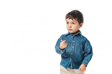 Adorable boy on denim shirt looking away isolated on white stock vector