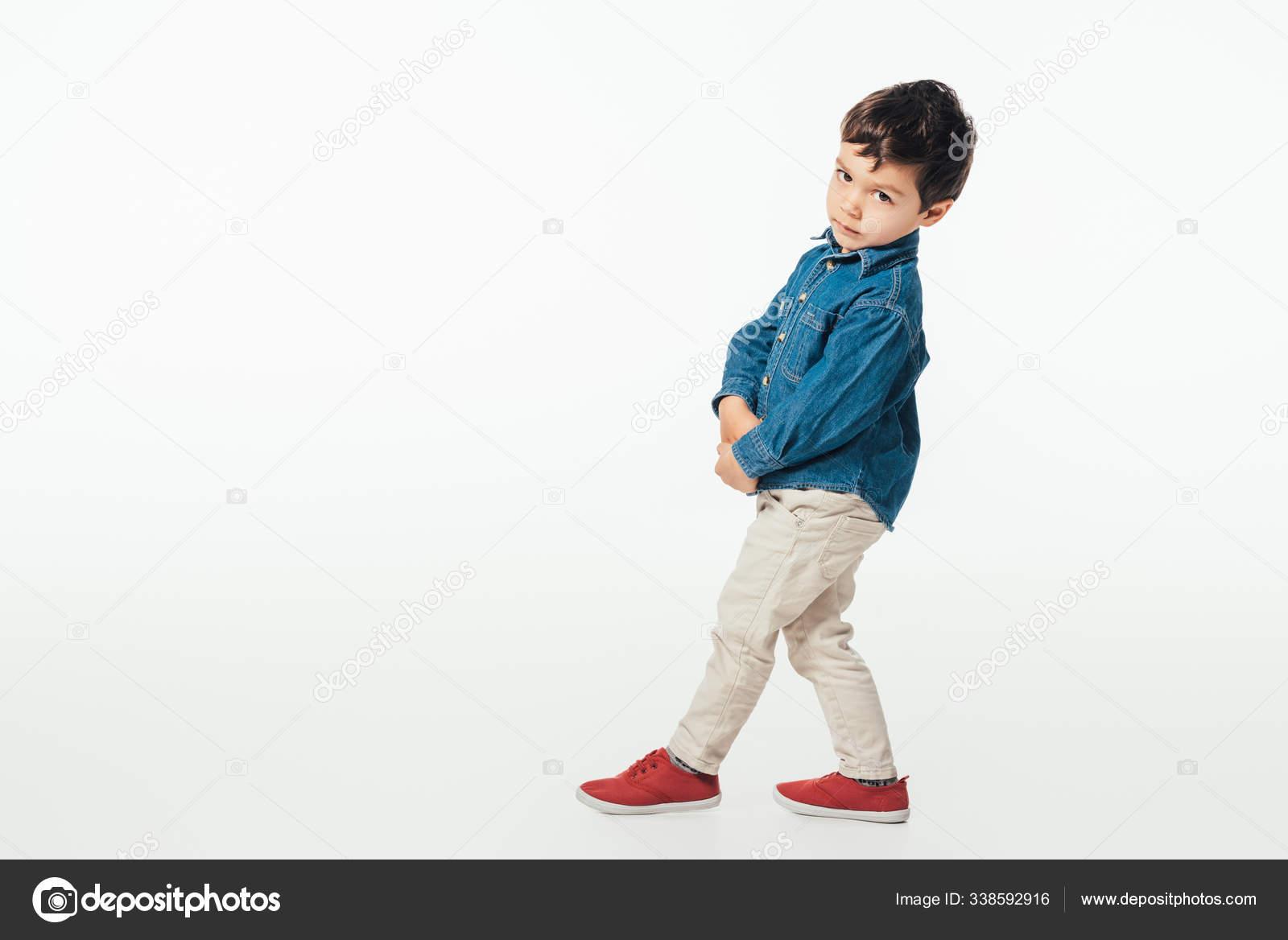 Cute Boy Denim Shirt Looking Camera Isolated White Stock