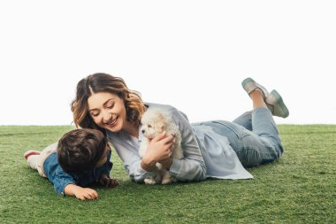 smiling mother holding Havanese puppy and son looking at it isolated on white