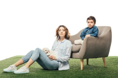 mother with Havanese puppy sitting on grass and son sitting on armchair isolated on white