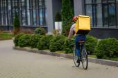 Zpět pohled na kurýra s termobatohem jízdu na kole na městské ulici