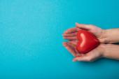 Top view nő gazdaság dekoratív szív kék háttér, világegészségügyi nap koncepció
