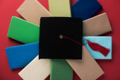 Top view of black graduation cap with tassel on books on red background