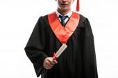 Első nézet a diák diploma elszigetelt fehér