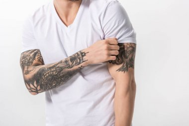 Cropped view of young tattooed man isolated on white stock vector