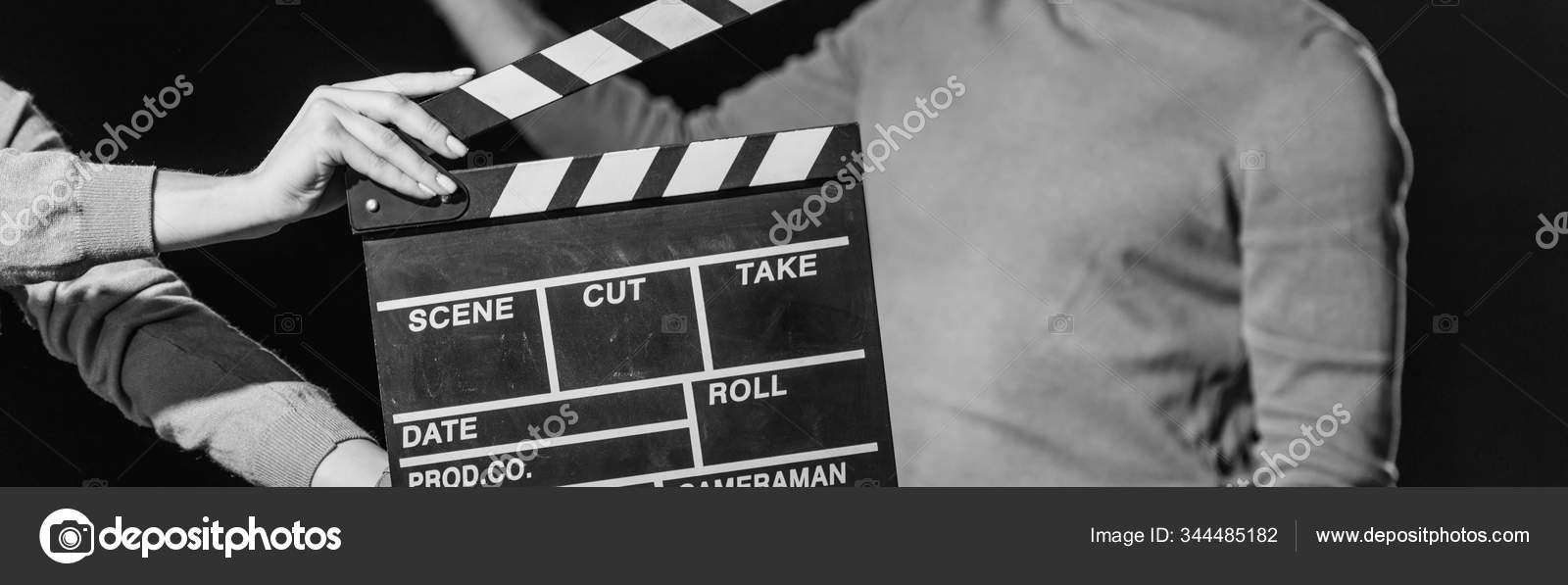 Panoramic Shot Actor Clapboard Front Isolated Black Black White — Stock Photo
