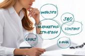 Oříznutý pohled na podnikatelku s rukou u brady držící spis u stolu, marketingová strategie ilustrace