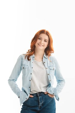 Cheerful redhead teen girl in denim clothes, isolated on white stock vector