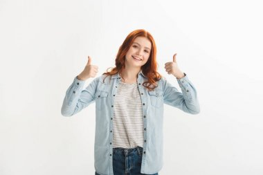 Emotional female teenager in denim clothes showing thumbs up, isolated on white stock vector