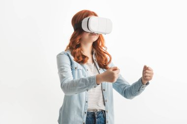 Redhead teenager gesturing and using virtual reality headset, isolated on white stock vector