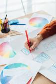 Zugeschnittene Ansicht des Designers mit Marker zur Entwicklung von User Experience Design mit Vorlagen und Farbkreis auf dem Tisch