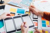 Ořezaný pohled tvůrčích designérů s využitím mobilních rámců pro uživatelský zážitek design webových stránek na stole