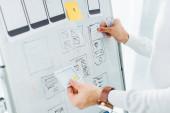 Oříznutý pohled na návrháře uxu pomocí rozložení při kreativním rozhraní aplikace na tabuli