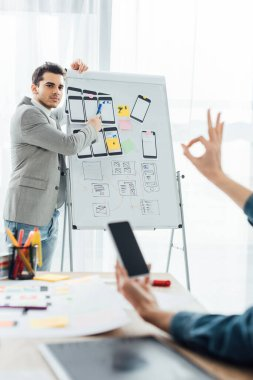 Selective focus of ux designer near whiteboard with layouts looking at colleague with smartphone showing okay sing in office stock vector