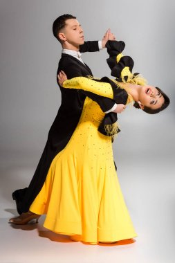 Elegant young couple of ballroom dancers dancing on grey stock vector