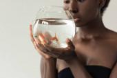 levágott kilátás afro-amerikai lány gazdaság akvárium halakkal elszigetelt szürke