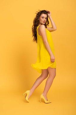 Beautiful elegant girl in dress on yellow stock vector