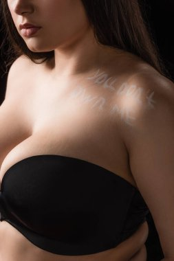 Cropped view of plus size model in bra with lettering You Don't Own Me on body isolated on black