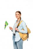 mosolygós csinos diák hátizsák gazdaság zászló Brazília elszigetelt fehér