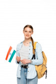 Photo pretty student with backpack holding flag of India isolated on white