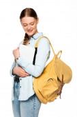 Lächelnde hübsche Studentin mit Rucksack und digitalem Tablet