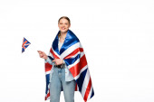 Photo happy pretty girl with braid and uk flags isolated on white