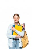 Lächelndes Mädchen mit Rucksack mit Werbebüchern und UK-Flagge auf weißem Hintergrund
