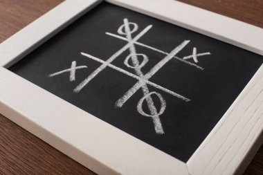 Tic tac toe game on chalkboard in white frame with crossed out row of naughts stock vector