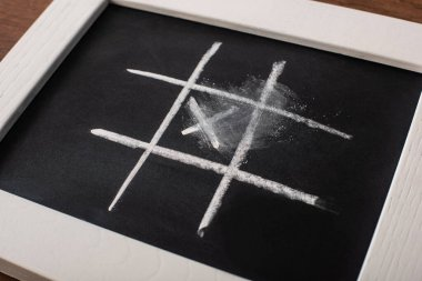 Tic tac toe game on blackboard with chalk grid and cross in center stock vector