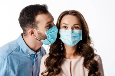 Man near woman in medical mask isolated on white stock vector