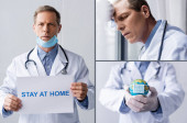 Fotografie collage of mature doctor in medical mask holding placard with stay at home lettering and globe on grey