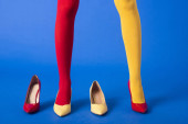 Photo cropped view of stylish model in yellow and red tights and shoes posing on blue