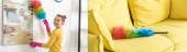 Koláž dítěte smetající prach z obrazu s péřovým prachem a barevným péřovým prachem na pohovce v obývacím pokoji, panoramatický záběr