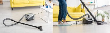 Collage of woman cleaning up with vacuum cleaner in living room, panoramic shot stock vector