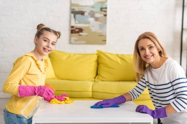 Mother and daughter with spray bottle smiling, looking at camera and wiping coffee table with rags near sofa in living room stock vector