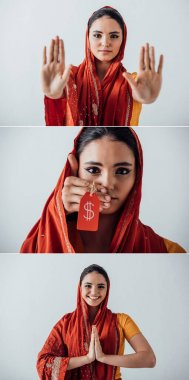 Collage of indian woman smiling, showing stop gesture and male hand holding price tag near face isolated on grey stock vector