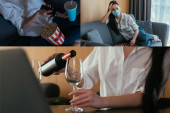 Photo collage of woman watching tv, playing chess and pouring wine into glass near laptop
