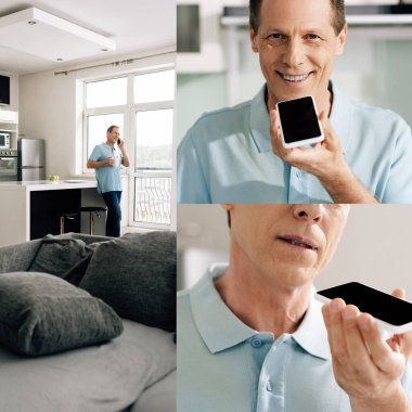 collage of man smiling and recording voice message on smartphone
