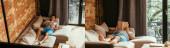Fotografie Collage mit Mischlingsmenschen, die Buch lesen, während sie auf dem Sofa chillen, während sie sich selbst isolieren, horizontales Konzept