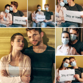 collage of man and woman in medical masks holding placards with stay at home lettering at home