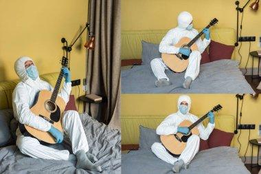 KYIV, UKRAINE - 24 Nisan 2020: Tehlikeli madde giysisi içindeki adam kolajı ve yatakta akustik gitar çalan tıbbi maske