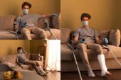 Kollázs férfi orvosi maszk és vakolat kötés lábon tévénézés otthon