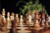 Fotografie Old wooden chess board