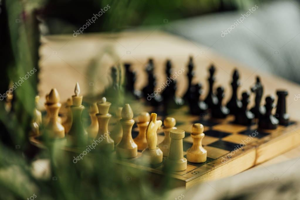 Chess board set for a new game