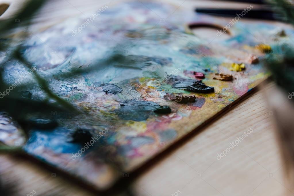 Colorful paint palette of artist