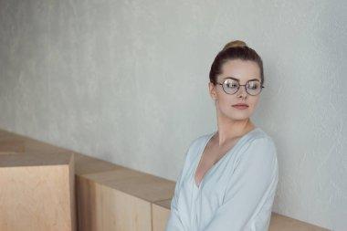 beautiful businesswoman in eyeglasses