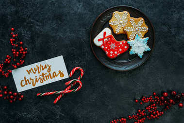 christmas gingerbreads and greeting card