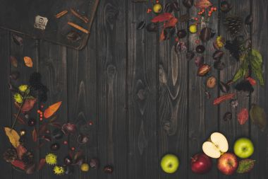 autumn leaves and ripe apples